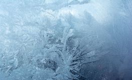 Ice on a Window.Blue Ice Texture Background. stock photography
