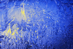 Ice window frosted blue abstract background winter Royalty Free Stock Photos