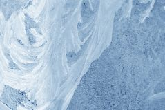 Ice on the window glass, natural background texture. Close-up detail royalty free stock photos