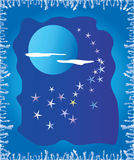 Ice window with moon. Winter metaphor of ice window and moon night.  Vector illustration Stock Images