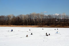 Ice winter fishing Royalty Free Stock Image