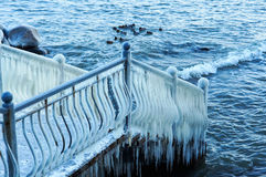 Ice, winter, frost, ice, floe, cold, icicles, fence, fence, railing. Frozen items, cold day, frozen, icy, ice-covered royalty free stock photo