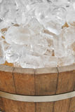 Ice in wood pot Stock Photo