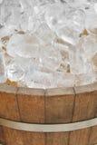 Ice in wood pot Stock Photo