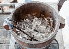 Ice wooden bucket Stock Images