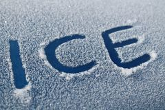 Ice Word in Car Frost Stock Photos