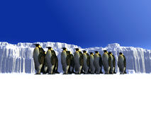 Ice world 12. A ice landscape with some penguins on it Stock Image