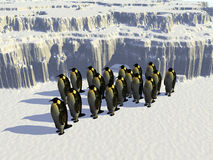 Ice world 14. A ice landscape with some penguins on it Royalty Free Stock Photos