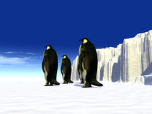 Ice world 15. A ice landscape with some penguins on it Stock Photo