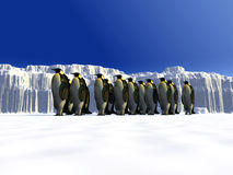 Ice world 9. A ice landscape with some penguins on it Stock Photos