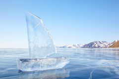 Ice yacht on winter Baical Royalty Free Stock Photography