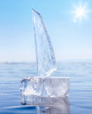 Ice yacht on winter Baical Stock Photography