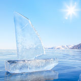 Ice yacht on winter Baical Royalty Free Stock Images