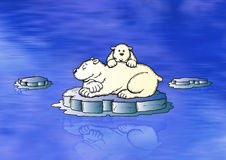 Icebear. Illustration of a little icebear family floation on ice over the sea royalty free illustration