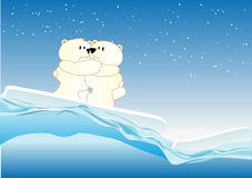 Icebears. Abstract vector illustration of some cute icebears keeping each other warm Stock Image