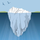 Iceberg. An iceberg floats in the water close to land, the danger is hidden below Royalty Free Stock Image