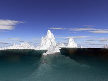 Iceberg. Underwater and above view Stock Photos