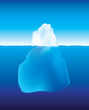 Iceberg above and below the water. An illustration using gradient mesh of an iceberg under and above the water Royalty Free Stock Photography
