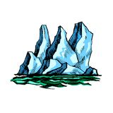 Iceberg above the water. The tip of the iceberg above the water. Vector color sketch stock illustration