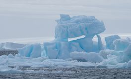 Iceberg in Antarctic Sound with a Glacier in the Background. A light blue iceberg floating in the dark gray water of the Southern Ocean in Antarctic Sound