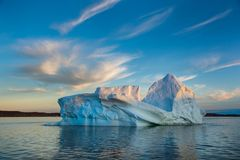 Iceberg and beautiful sky in Greenland. stock image