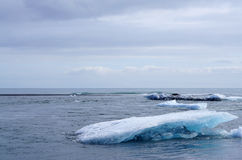 Iceberg on the black rock beach Royalty Free Stock Images