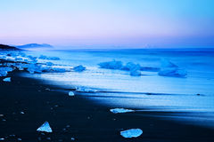 Iceberg on black sand beach of Iceland Royalty Free Stock Images
