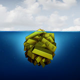 Iceberg Business Concept. As a hidden fortune opportunity economic vision concept as an investing metaphor as a group of gold bars with 3D illustration elements Stock Photos