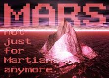 Iceberg che galleggia su un oceano rosso con il cielo su Marte Immagini Stock