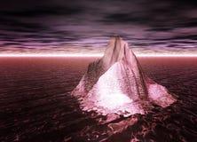 Iceberg che galleggia su un oceano rosso con il cielo su Marte Fotografie Stock