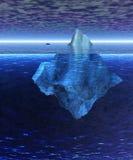 Iceberg cheio bonito no oceano com cargueiro ilustração do vetor