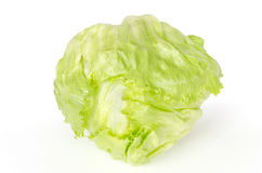 Iceberg or crisphead lettuce front view over white Stock Photo