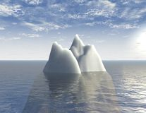 Iceberg 3d illustration background with sea and blue sky abstraction Royalty Free Stock Photography