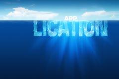 Iceberg de la aplicación informática Imágenes de archivo libres de regalías