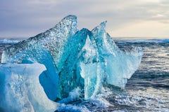 Iceberg at Diamond Beach Joekulsarlon in Iceland, Europe stock images
