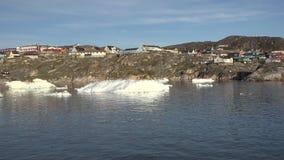 Iceberg e geleira da vila Ilulissat do ` s de Gronelândia video estoque