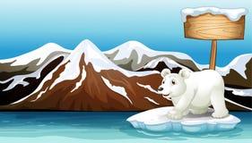 Iceberg en el océano con el letrero y el oso polar ilustración del vector