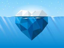 Iceberg en la forma del corazón que flota en el mar azul profundo stock de ilustración