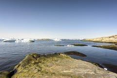 Iceberg enormi in icefjord di Ilulissat della Groenlandia Maggio 2016 Fotografie Stock Libere da Diritti
