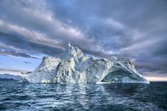 Iceberg floating in greenland fjord Royalty Free Stock Images