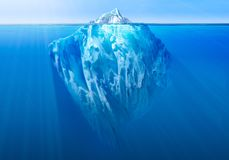 Iceberg in the ocean with visible underwater part. 3D illustration vector illustration