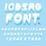 Iceberg font. 3D letters of ice. Ice alphabet letter. ABC of sno Royalty Free Stock Photos