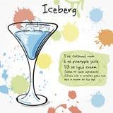 Iceberg. Hand drawn illustration of cocktai. Royalty Free Stock Photos
