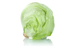 Iceberg head of lettuce fresh vegetable isolated. On a white background royalty free stock images
