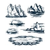 Iceberg ice blocks. On the surface of the sea. Set of different shapes and sizes vector sketch Stock Photo