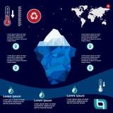 Iceberg Illustration in flat design. Iceberg, , illustration, ice, water, ocean, underwater, background, design, sea, landscape, mountain, business, antarctic Royalty Free Stock Images