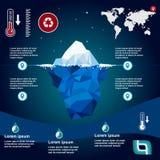Iceberg Illustration in flat design. Iceberg, , illustration, ice, water, ocean, underwater, background, design, sea, landscape, mountain, business, antarctic Stock Photos
