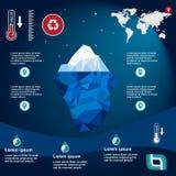 Iceberg Illustration in flat design. Iceberg, , illustration, ice, water, ocean, underwater, background, design, sea, landscape, mountain, business, antarctic Royalty Free Stock Photo