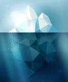 Iceberg illustration. Underwater iceberg arctic snow vector illustration in blue and white colors Stock Photo