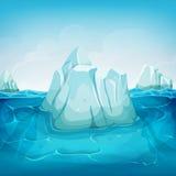 Iceberg Inside Ocean Landscape. Illustration of a cartoon iceberg block floating on deep polar ocean, with water waves behind and blue sky background Stock Image